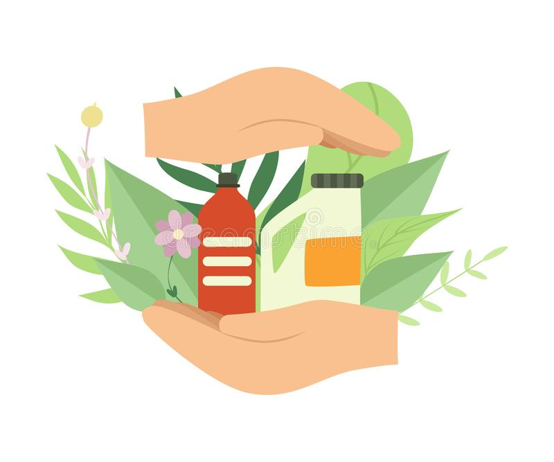 Mains humaines tenant les alimentations stabilisées de ménage écologique, protection de l'environnement, vecteur de concept d'éco illustration stock