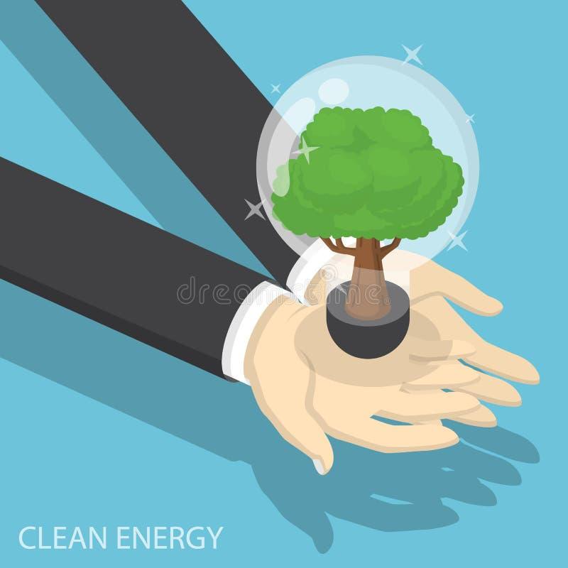 Mains isométriques d'homme d'affaires tenant l'ampoule écologique illustration libre de droits