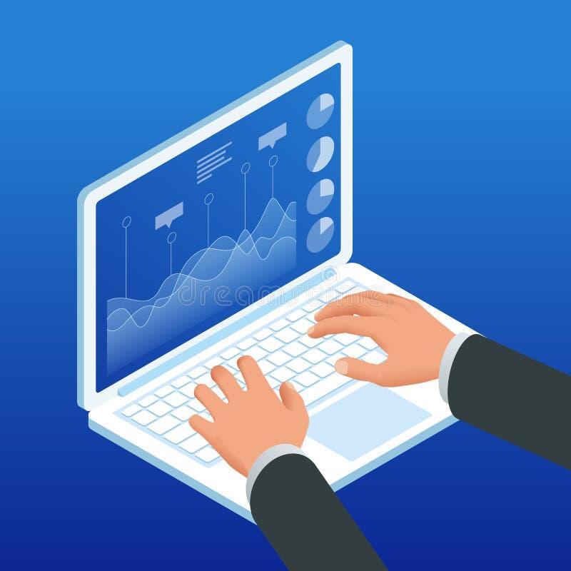 Mains isométriques sur le clavier d'ordinateur portable Programme de diagramme de travail d'homme d'affaires, méthodologie financ illustration de vecteur