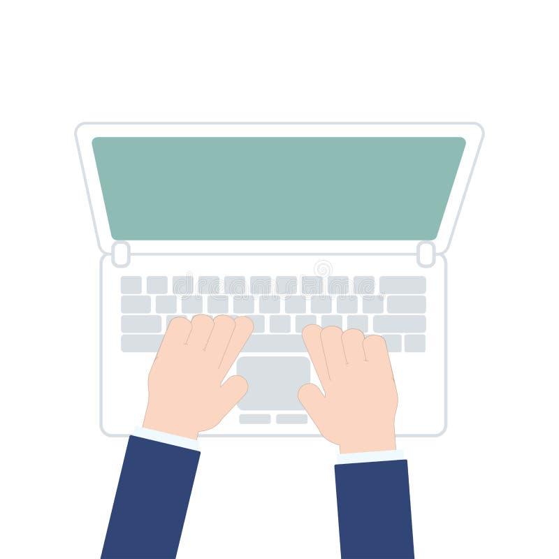 Mains masculines travaillant sur l'ordinateur portable, vue supérieure sur le fond blanc, illustration de vecteur dans la concept illustration de vecteur