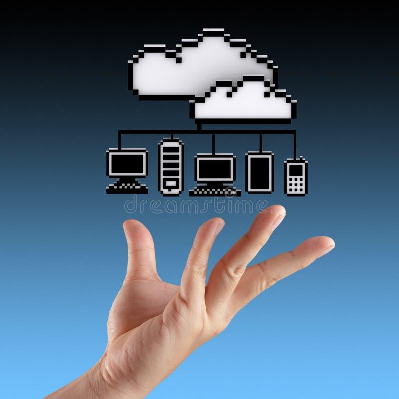 Mains montrant le nuage calculant illustration stock