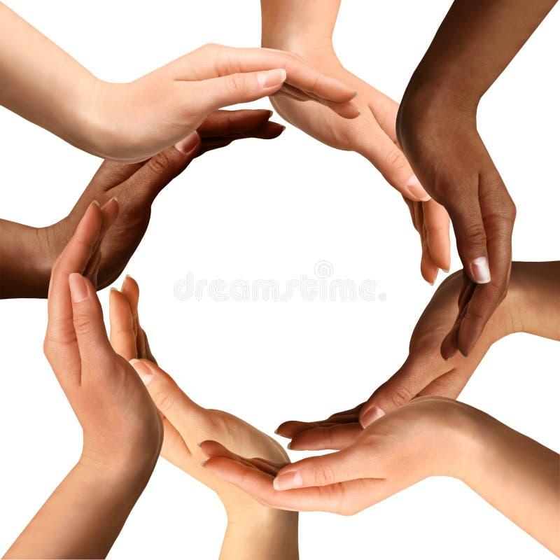 Mains multiraciales effectuant un cercle image stock