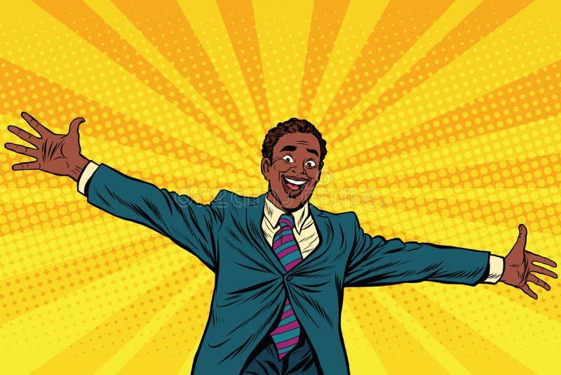 Mains ouvertes d'homme d'affaires heureux d'Afro-américain pour des étreintes illustration de vecteur