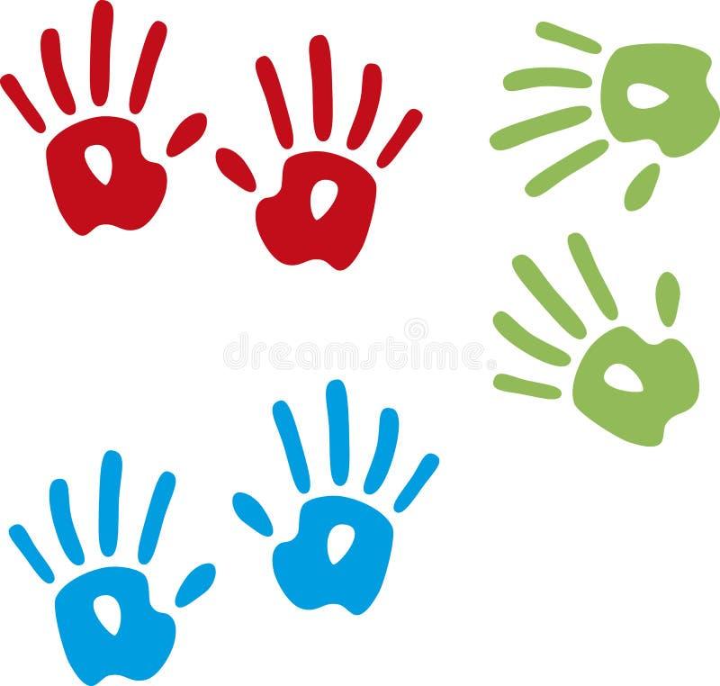 Mains peintes blanches de marche photos libres de droits