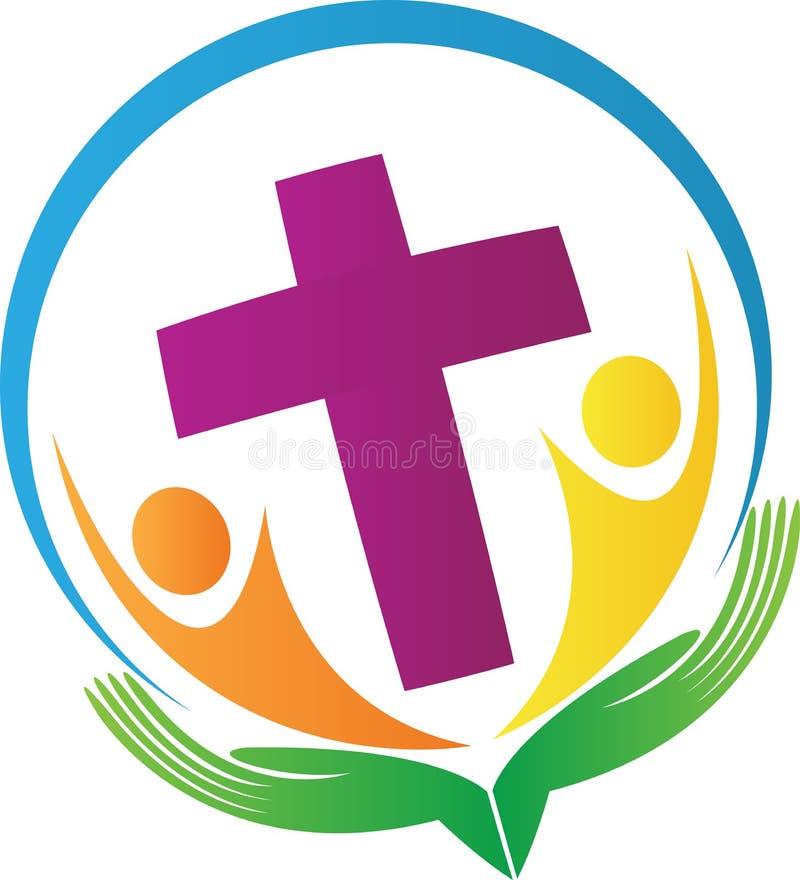 Mains retenant des gens avec la croix illustration de vecteur