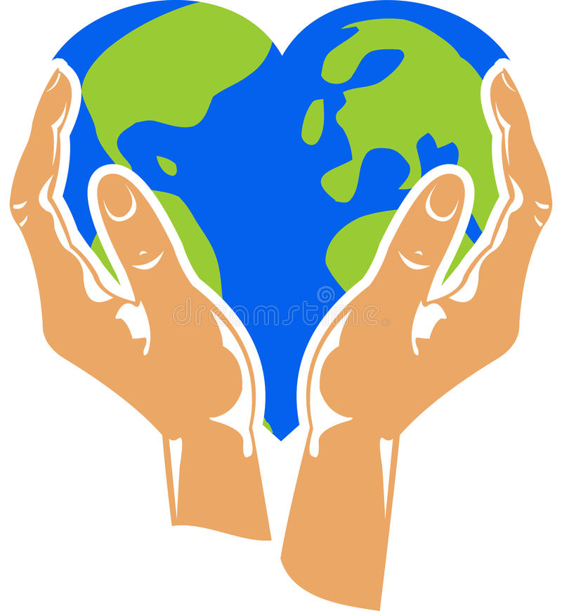 Mains retenant la terre en forme de coeur illustration libre de droits