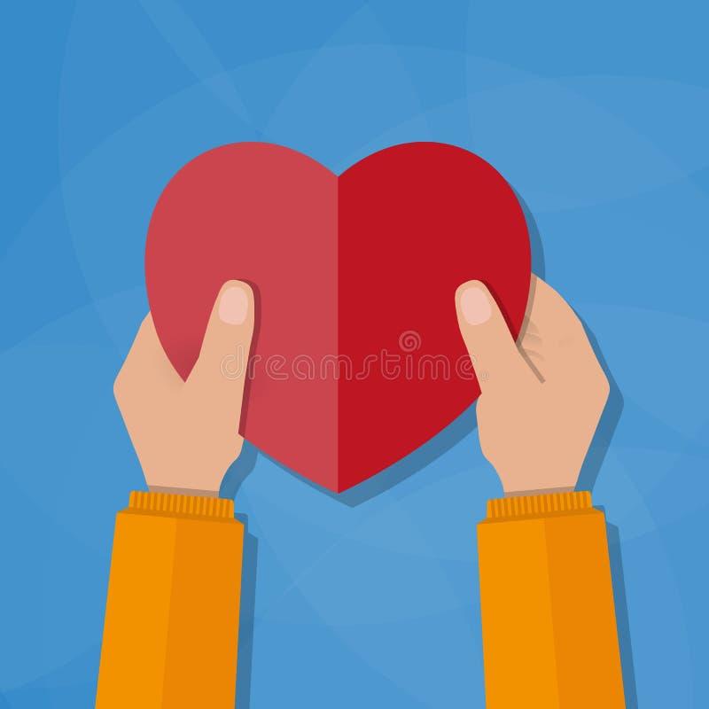 Mains retenant le coeur illustration stock