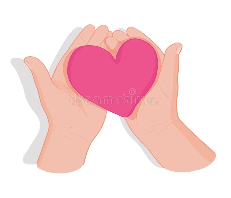 Mains retenant le coeur Symbole de l'amour, donation, paix, charité, amitié, soins de santé illustration de vecteur