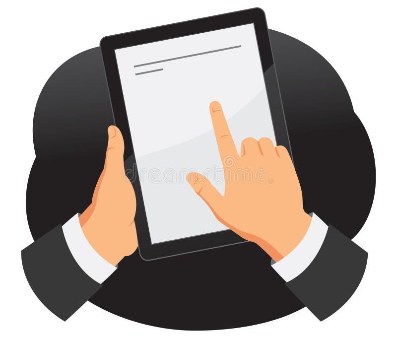 Mains retenant le PC de tablette illustration libre de droits