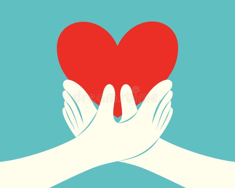Mains retenant un coeur rouge illustration stock