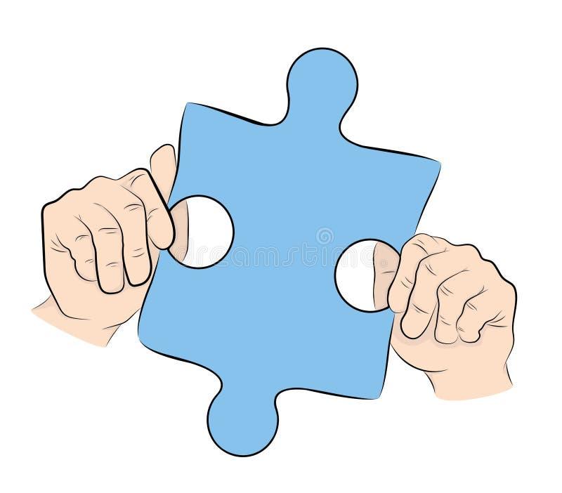 Mains retenant un puzzle Symbole d'autisme Illustration de vecteur illustration libre de droits