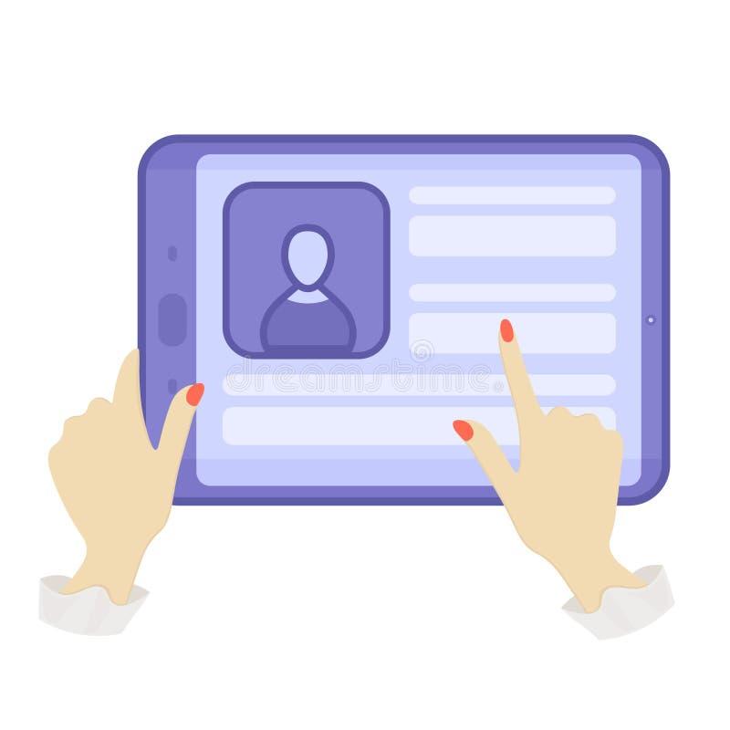 Mains retenant une tablette Tablette bleue Illustrations plates Illustration de vecteur photographie stock libre de droits