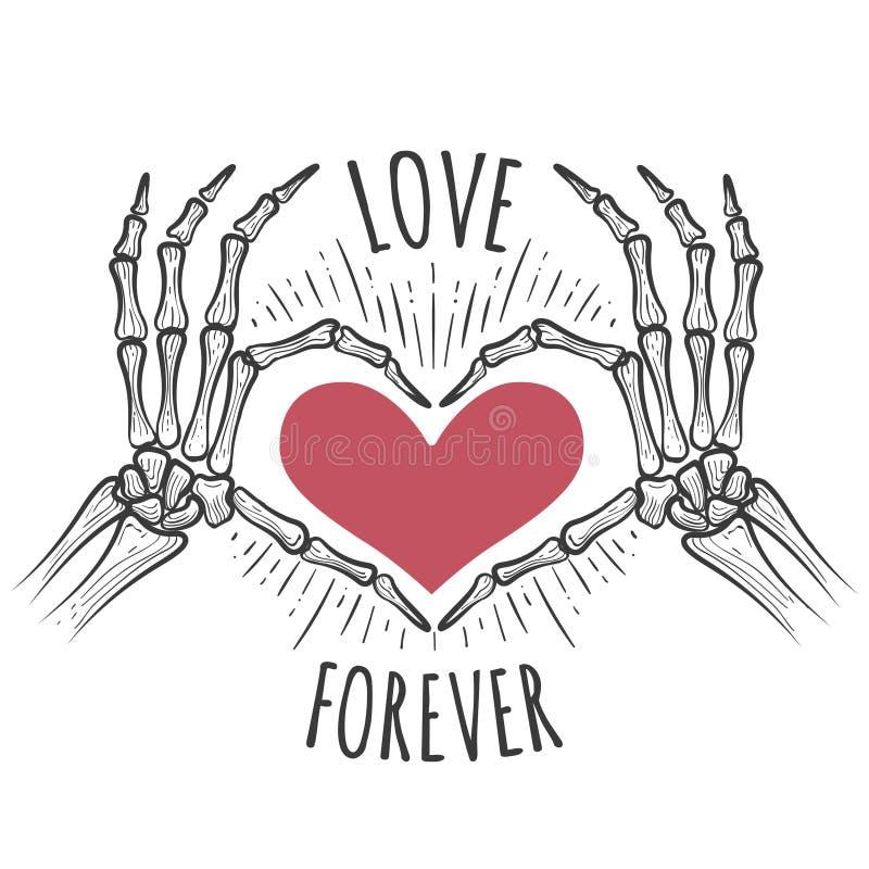 Mains roses squelettiques de coeur illustration de vecteur