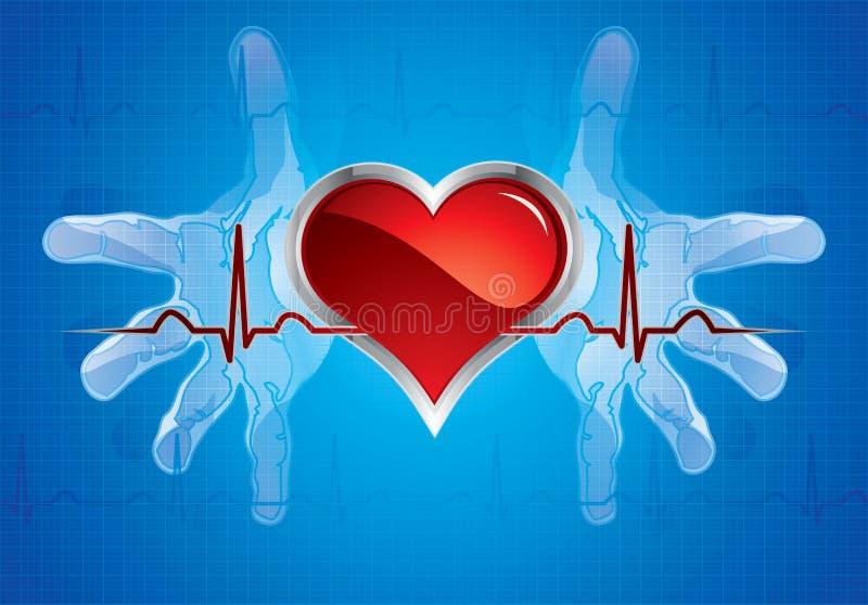 Mains s'inquiétant le coeur illustration de vecteur