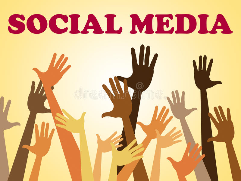 Mains sociales de moyens de media ensemble et Facebook illustration stock