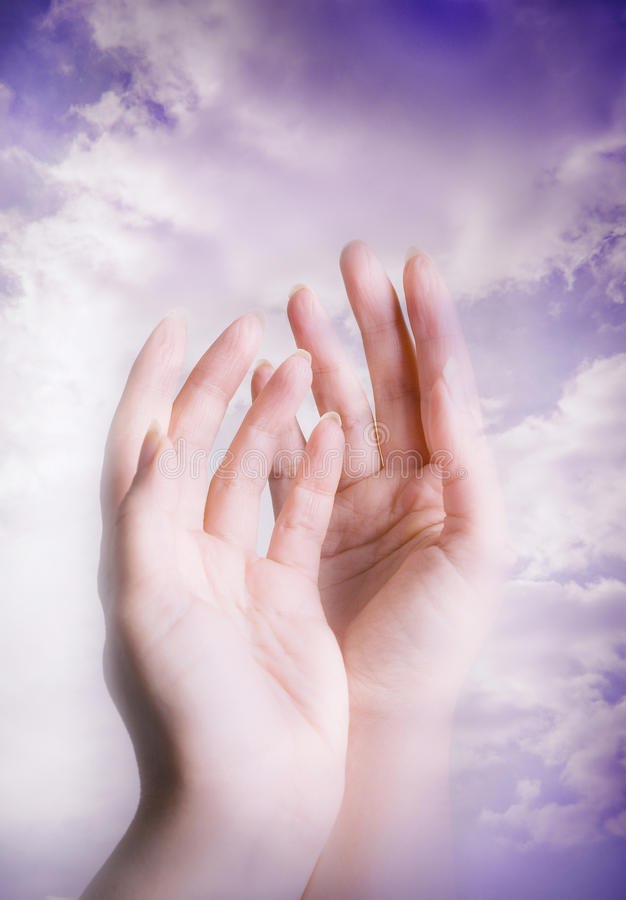 Mains spirituelles image stock