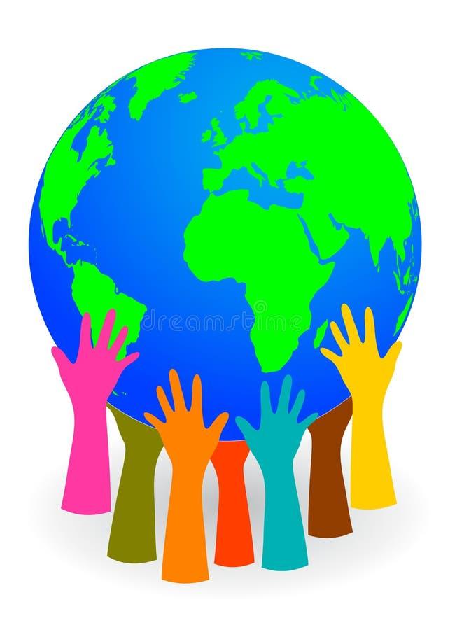 Mains supportant un globe illustration libre de droits