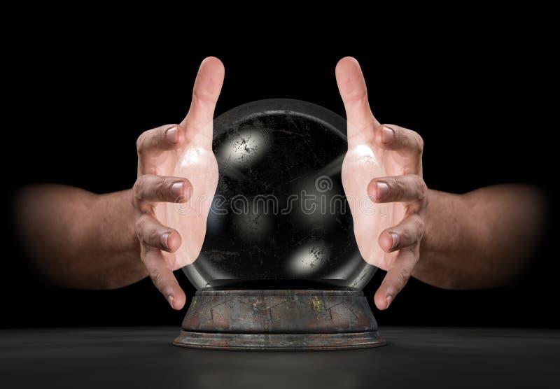 Mains sur Crystal Ball illustration stock