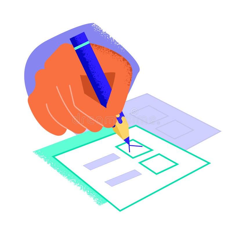 Mains sur la table Remplissage de liste de contrôle Illustration de vecteur r illustration de vecteur