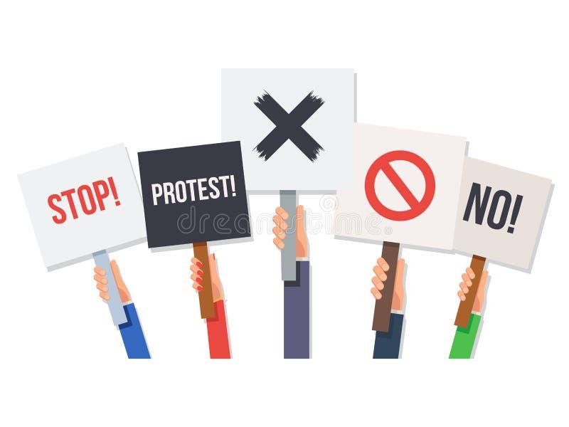 Mains tenant des affiches de protestation illustration de vecteur