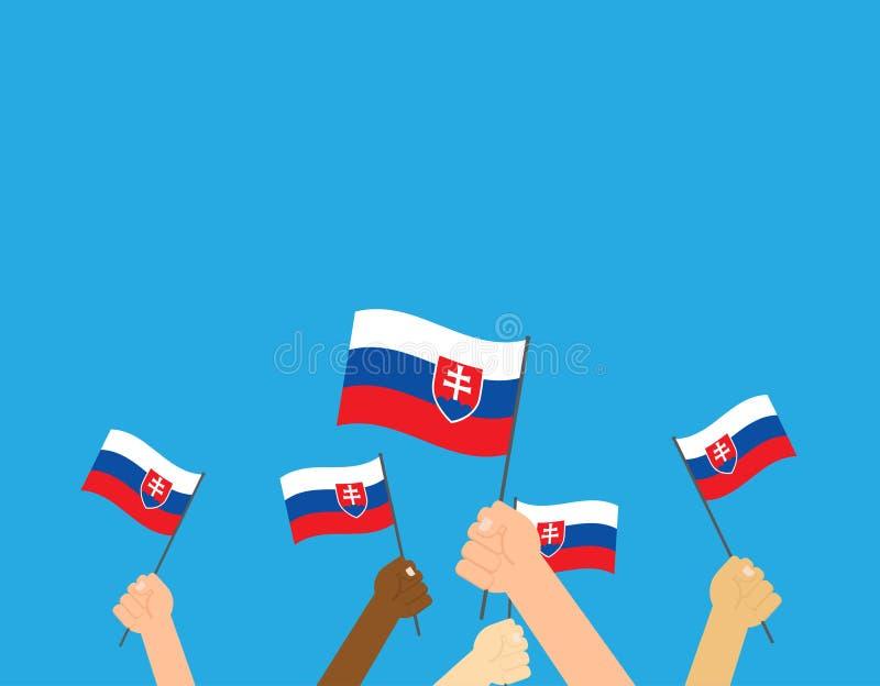 Mains tenant des drapeaux de la Slovaquie illustration libre de droits