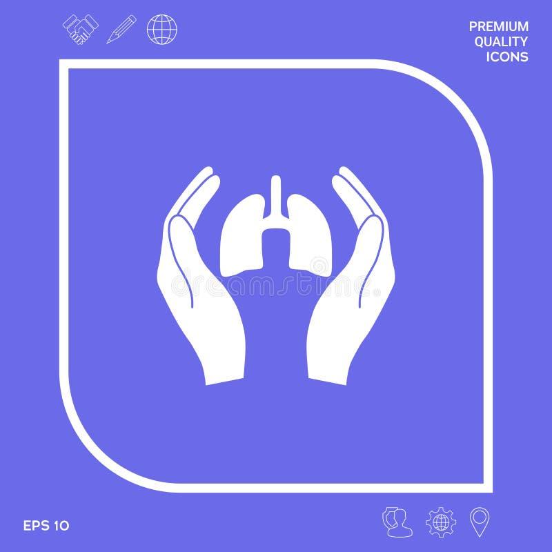 Mains tenant des poumons - icône de protection Éléments graphiques pour votre conception illustration de vecteur
