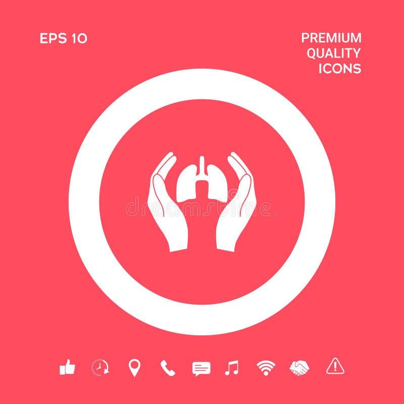 Mains tenant des poumons - icône de protection Éléments graphiques pour votre conception illustration libre de droits