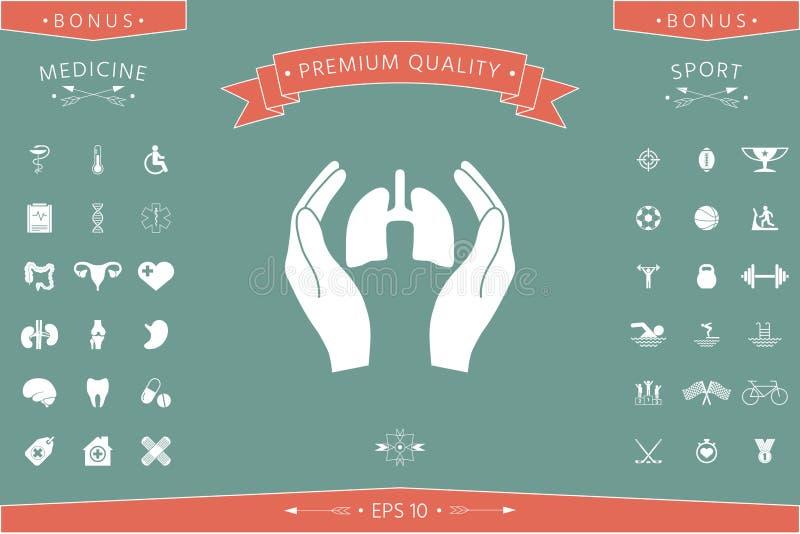 Mains tenant des poumons - icône de protection illustration stock