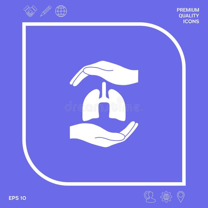 Mains tenant des poumons - symbole de protection Éléments graphiques pour votre conception illustration stock