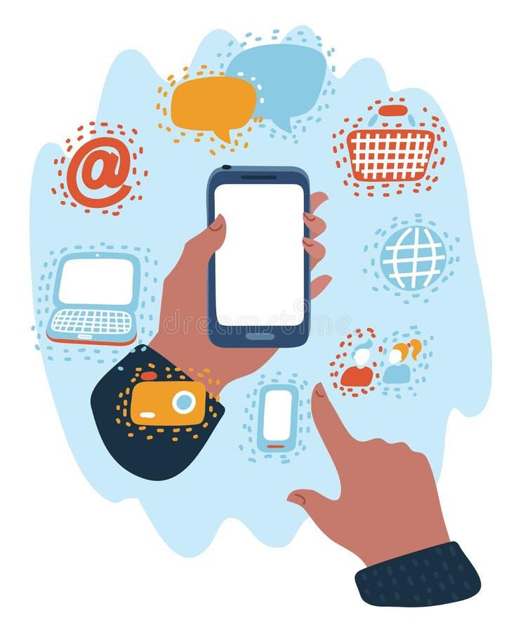 Mains tenant des smartphones avec des icônes illustration de vecteur