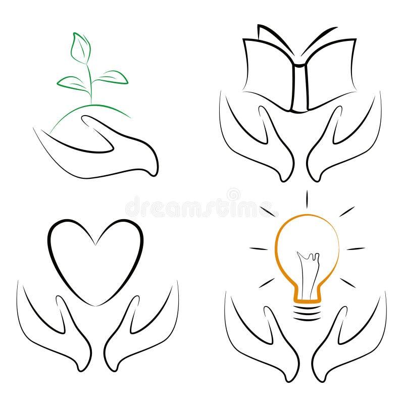 Mains tenant des symboles illustration de vecteur