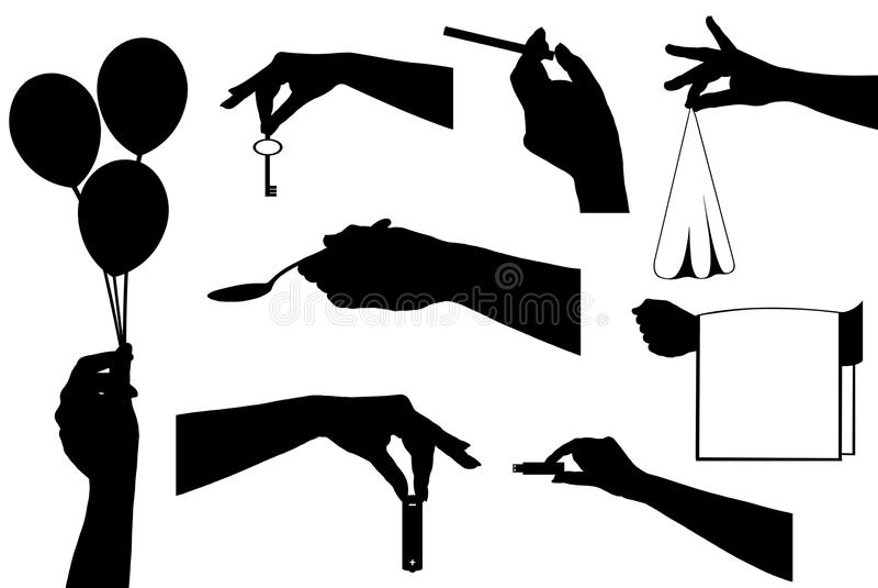 Mains tenant différents objets illustration stock