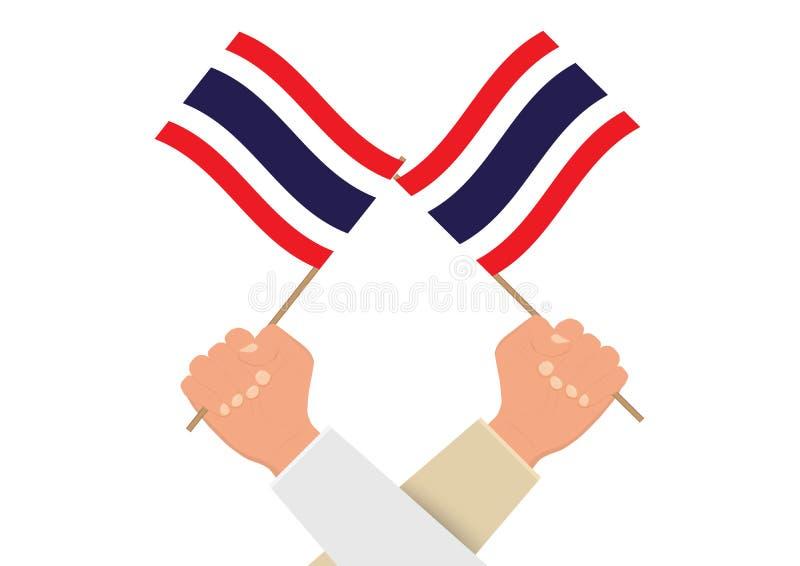 Mains tenant et soulevant le drapeau national de la Thaïlande illustration stock