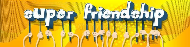 Mains tenant l'amitié superbe de mots illustration de vecteur