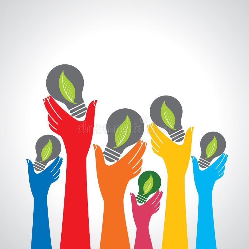 Mains tenant l'ampoule d'écologie verte, icône de vecteur illustration libre de droits