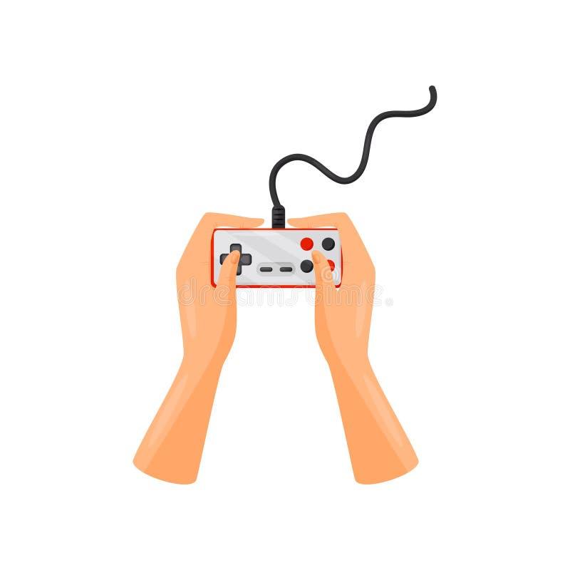 Mains tenant l'extérieur de câble de contrôleur, manette, illustration de vecteur de concept de jeu sur un fond blanc illustration de vecteur