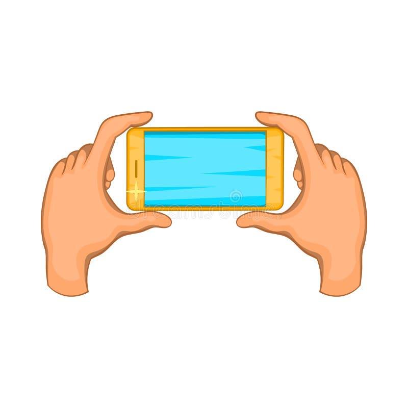 Mains tenant l'icône de téléphone portable, style de bande dessinée illustration de vecteur