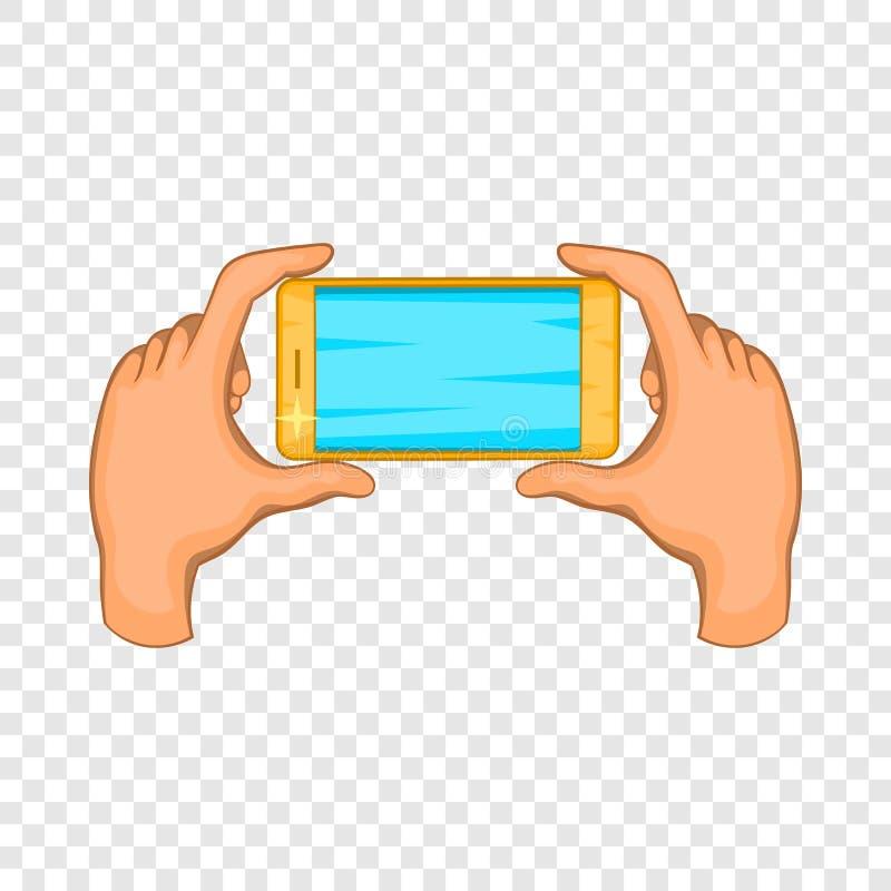 Mains tenant l'icône de téléphone portable, style de bande dessinée illustration libre de droits