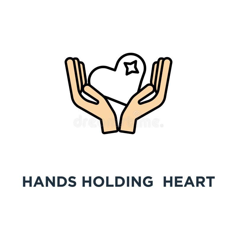 mains tenant l'icône rouge de coeur recevez ou acceptez l'amour, la philanthropie, offrir ou l'aide, conception moderne, symbole  illustration stock