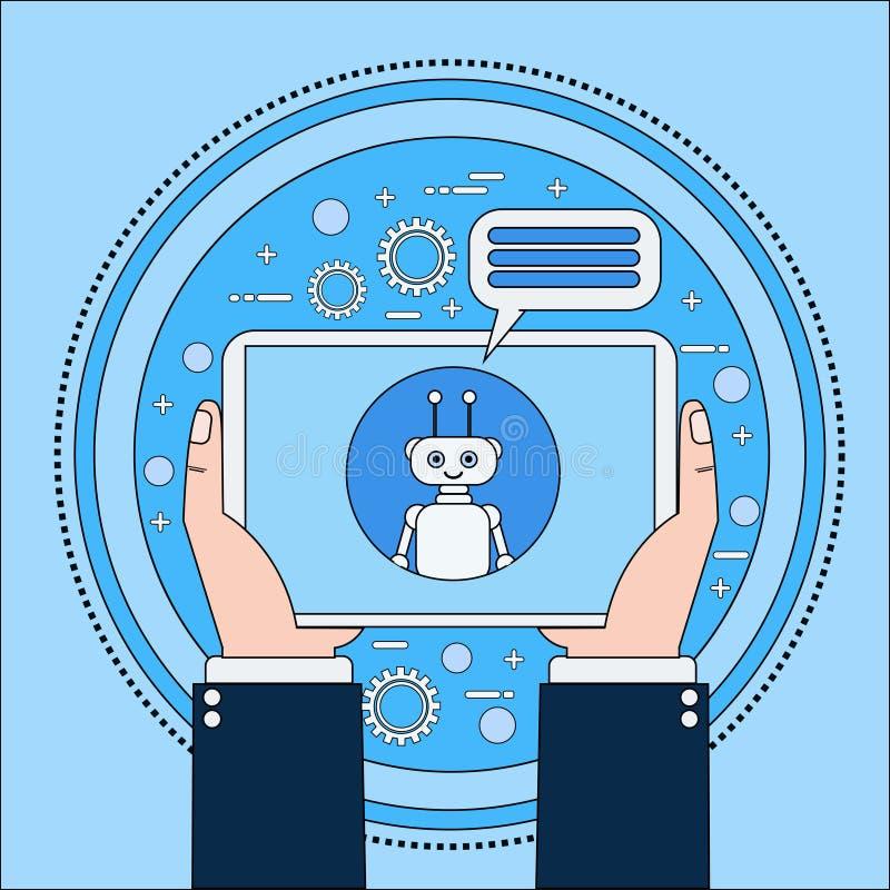 Mains tenant la tablette causant avec Chatbot, moderne illustration libre de droits