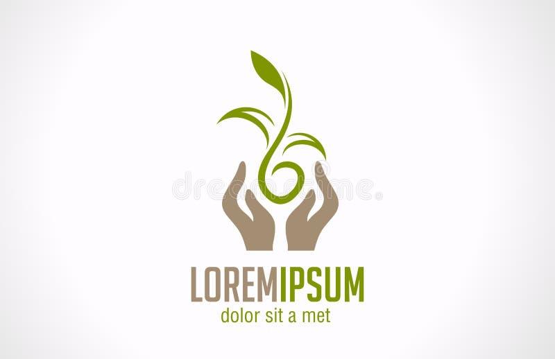 Mains de logo tenant l'icône abstraite d'usine. Concentré vert illustration stock