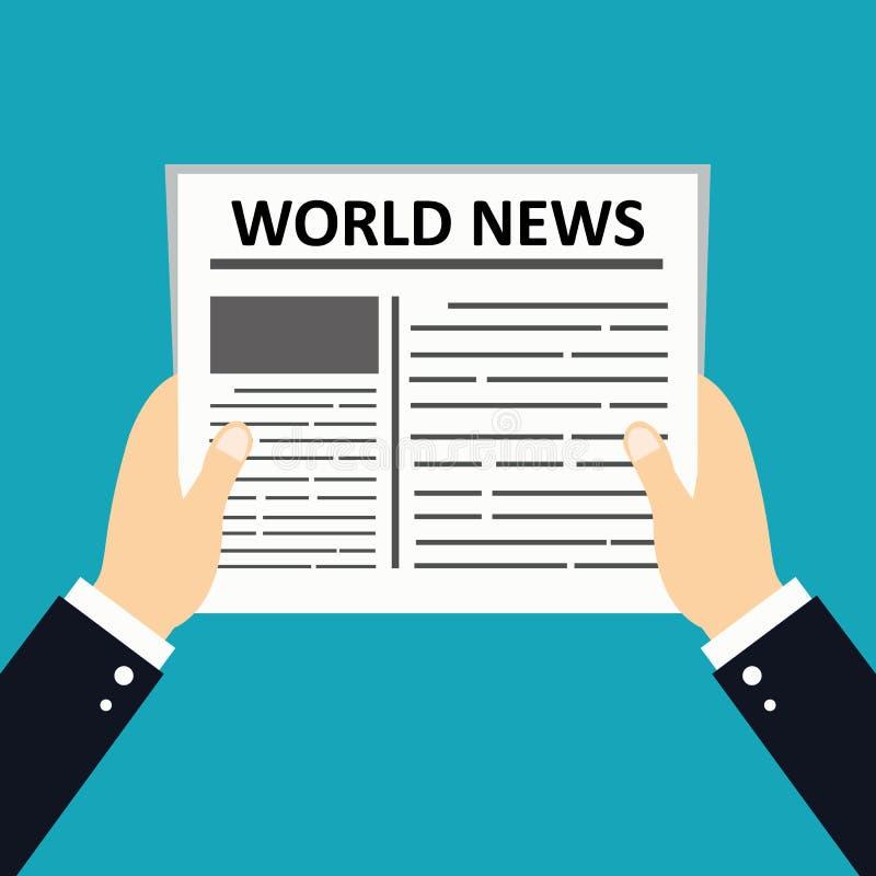 Mains tenant le journal Concept quotidien de gazette d'informations commerciales Concept tabloïd de media de papier Style plat de illustration de vecteur