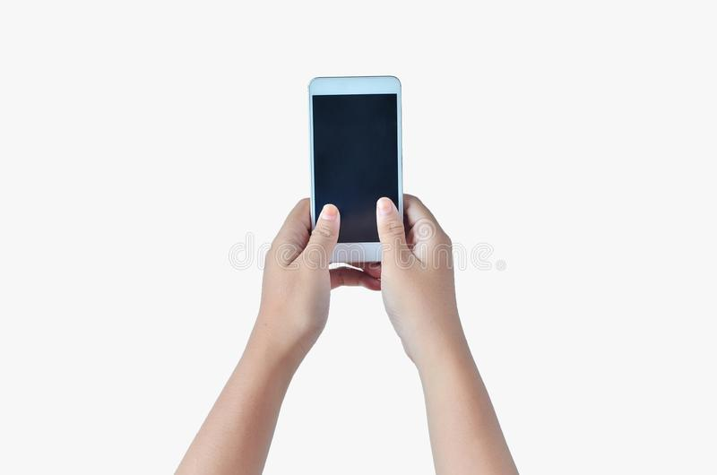 Mains tenant le téléphone utilisant deux mains photo stock