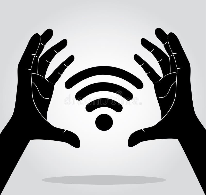 Mains tenant le vecteur de symbole d'icône de Wifi illustration stock