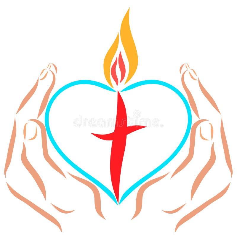 Mains tenant un coeur avec une croix et une flamme illustration libre de droits
