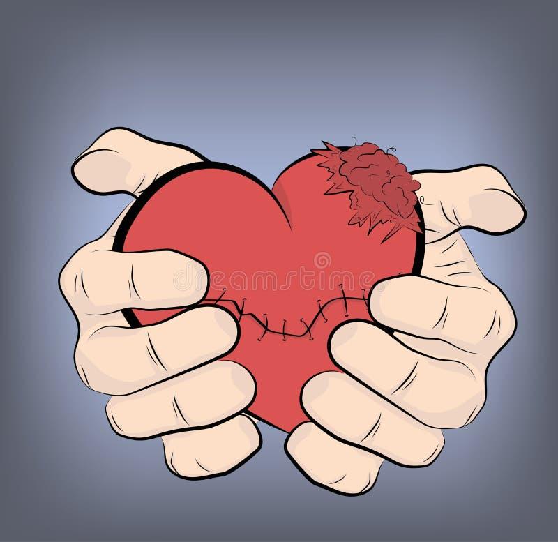 Mains tenant un coeur sacré Illustration de vecteur illustration de vecteur