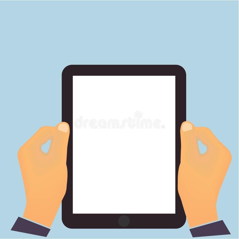 Mains tenant un desi plat vertical de tablette illustration stock
