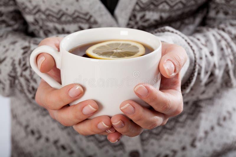 Mains tenant une tasse de thé photographie stock