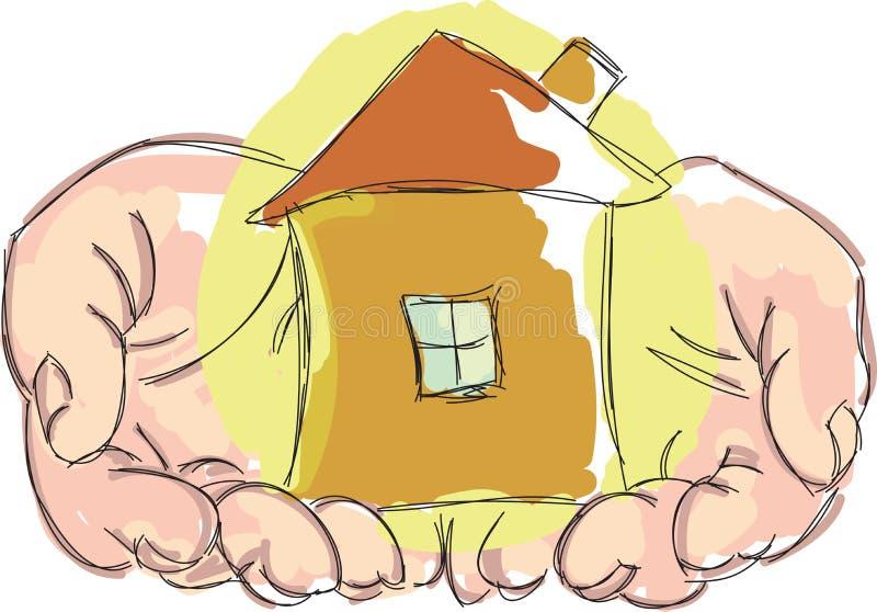 Mains tirées tenant la maison illustration de vecteur
