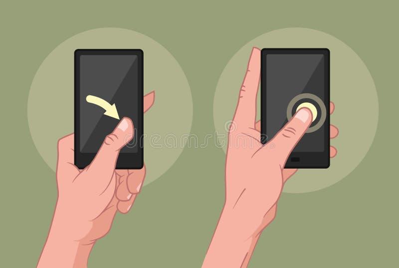 Mains utilisant le périphérique mobile illustration stock
